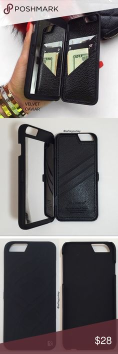 """black mirror wallet phone case iPhone 6/6s • Plus •sizes: iPhone 6/6s (4.7"""") iPhone 6 Plus (5.5"""")   •features: 3 card slots and a mirror on the inside. closes/opens shut.    •no trades   •not from Brandy Melville. brand listed for visibility. real brand: B-Long Boutique Brandy Melville Accessories Phone Cases"""
