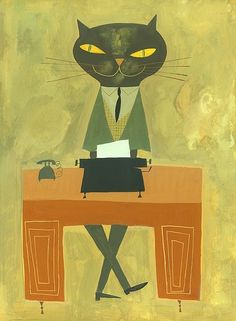 Working++85x11+limited+edition+print+by+Matte+Stephens+by+matteart,+$35.00 One if a few cat character prints! So cool!!