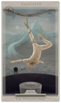 Tarot card: The Hanged Man by Sabina Nore ~ ( I WAS COMPELLED TO INCLUDE. THIS SURREAL CONCEPT)
