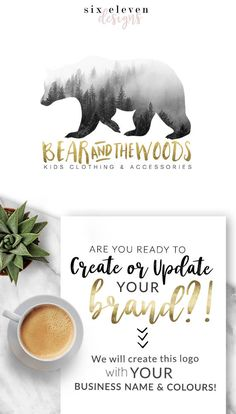 155 Bear Woods LOGO Premade Logo Design Branding Blog, Logo Design, Premade Logo, Branding, Blog Header, Business Logo, Photography, Boutique, Shop, Jewellery, Website, Bear, Woods,