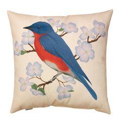 Manual Woodworkers & Weavers Spring Blue Bird Pillow