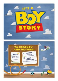 Toy Story Inspired Creative Baby Shower Invitation http://fetchandfatherhood.com/2015/03/10/its-a-boy-story-baby-shower-invitations/