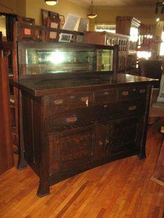 Antique Mission Oak Sideboard Buffet Arts & Crafts Grand Rapids w/Mirror 1900's