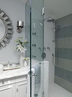 Main Bathroom | Sarah Richardson Design Stripe tile with tint matching splashback