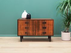 Structure is covered with rosewood veneer. Legs are made of solid wood and stained black. Surface after refreshing. This piece of furniture is a classic chest of drawers, ideal for any space. Thanks to the six large drawers it will perfectly fulfill its role as a place for documents, toys in the children's room or lingerie in the bedroom. Large Drawers, Danish Design, Thor, Solid Wood, Kids Room, Storage, Dressers, Furniture, Dresser