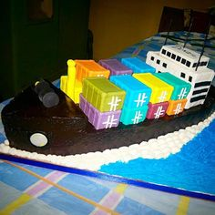 Amazing 16 Best Cargo Ship Cake Images Cake Boat Cake Ship Birthday Cards Printable Inklcafe Filternl