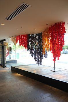 Tulsa Anthro window display - dots - Kara Paslay designs. Breakin' out my circle cutter!