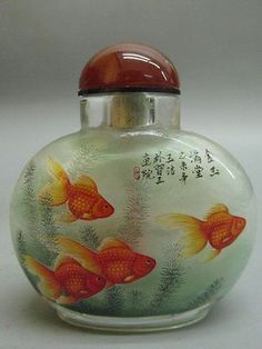 Chinese Glass Hand Inside-drawing Goldfish Pattern Snuff Bottle