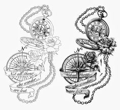 Cris Luspo Tattoo Designs: The Pocket Watch & The Compass