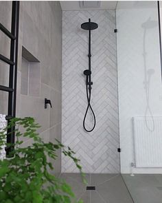 Matt black shower rail with round rosette, matt black wall mixer and matt . - Matt black shower rail with round rosette, matt black wall mixer and matt … - Bad Inspiration, Bathroom Inspiration, Bathroom Ideas, Restroom Ideas, Bathroom Updates, Bathroom Photos, Bathroom Inspo, Bathroom Designs, Laundry In Bathroom