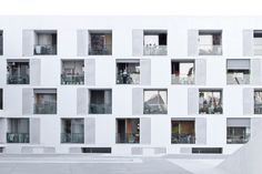 Image 20 of 22 from gallery of Living Anatomy: an Exhibition about Housing at Harvard Graduate School of Design. Can Travi Elderly Housing, Barcelona, Spain, by Photo by Jordi Castellano, courtesy of Facade Architecture, Residential Architecture, Contemporary Architecture, Building Exterior, Building Facade, Sheltered Housing, Student House, Residential Complex, Social Housing
