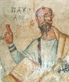 Portrait of Paul on the wall of his grotto in Ephesus.