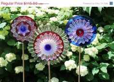 ON SALE Extra Large Patriotic Ribbon Vintage Glass Flower Suncatcher / Blue Ram Blooms Glass Art / Indoor Outdoor Sculpture / Stake Included...