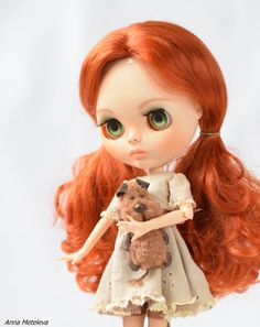Blythe outfit. Blythes Toy. The brown dog 2.55 inches. by DollBlythe on Etsy