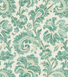 Home Decor Print Fabric- Swavelle Millcreek Boxtree Lynwood Aquamarine - Possible bedroom drapes.