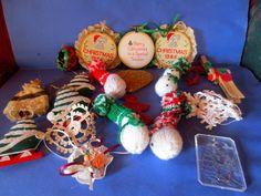 18  Vintage Christmas Ornaments  Snowman, Rudolph, Tree, Wax figures,