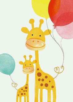 Margaret Berg Art: Giraffe Mom & Baby with Balloons Drawing For Kids, Painting For Kids, Art For Kids, Image Deco, Baby Posters, Baby Art, Cute Illustration, Giraffe Illustration, Nursery Art