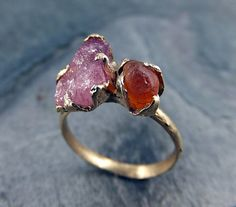 Raw gemstone Pink Tourmaline Rough Orange ring by byAngeline