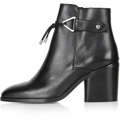 TopShop Mimi Heeled Boots (77 AUD) ❤ liked on Polyvore featuring shoes, boots, ankle booties, black, heels, topshop, black ankle booties, high heel booties, black leather booties and black heel boots