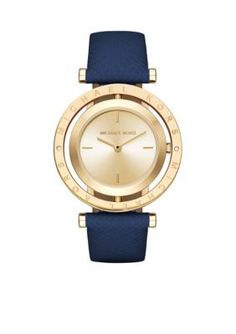 A rich navy leather strap beautifully compliments the gold-tone of this Averi watch by Michael Kors, featuring a logo-engraved bezel and striking cutout design. Michael Kors Jewelry, Michael Kors Watch, Second Hand Watches, Watch Engraving, Pink Watch, Stylish Watches, Unique Watches, Engraved Jewelry, Leather Jewelry
