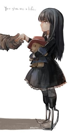 Valentine helping little Giselle- This is a very lovely picture! I love how it tells their story. I also LOVE the Paddington! Nice addition to character!