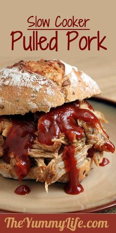 Slow Cooker Pulled Pork. Easy and so succulent & delicious that you'd never believe it's LOW FAT!!....there is an excellent 14 spice dry rub recipe that is used..it sounds awesome...it is a versitile rub..to use on other meats as well