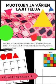 Muotoja ja värejä lajittelutehtävä - Viitottu Rakkaus Opi, Cube, Workshop, Playing Cards, Games, Atelier, Work Shop Garage, Playing Card Games, Gaming