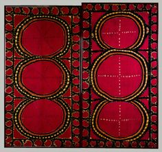 Pair of Suzani embroidered fabric panels Central Asia, 1880.