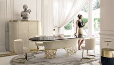 Every luxury dining room needs some eccentric and elegant furniture pieces. So, let us show you our selection of Modern Dining Tables to inspire you. Dining Table Design, Modern Dining Chairs, Round Dining Table, Dining Room Furniture, Dining Area, Round Tables, Small Tables, Italian Furniture, Luxury Furniture