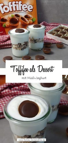 Gesund naschen mit dem Toffifee Müsli-Joghurt! Das ist lecker!  #Toffifee #Gesundnaschen Overnight Oats, Easy Peasy, Chocolate Fondue, Brunch, Sweet, Party, Desserts, Recipes, Kid Recipes