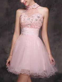 A-line+High+Neck+Short/Mini+Tulle+Cocktail+Dresses/Short+Prom+Dress#+ZP446