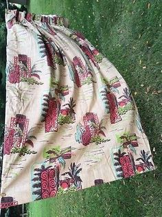 """2 Bark Cloth Curtains Drapery 82x64"""" Pleated with Hooks Fully Lined Vintage   eBay"""