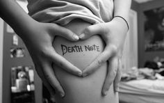 Death Note- to match the rest of my body. Pretty Tattoos, Cool Tattoos, Tatoos, Dream Tattoos, Future Tattoos, Anime Tattoos, Body Art Tattoos, Kawaii Tattoos, Note Tattoo