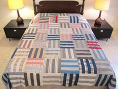 QUEEN-Vintage-SIX-STRIPES-Quilt-TOP-Hand-Sewn-OLD-Cotton-Fabrics-TINY-PRINTS