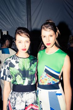 Imagine, messy up-dos with slicked back bangs. K, now stop imagining, because it's real, people: http://www.thecoveteur.com/harley-viera-newtons-clover-canyon-ss15/