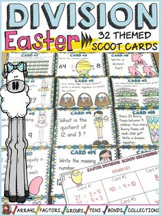 Review division facts and build number sense with these 32 division scoot cards featuring a fun Easter theme . https://www.teacherspayteachers.com/Product/EASTER-DIVISION-SCOOT-NUMBER-SENSE-3675291
