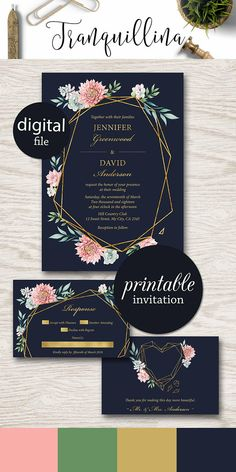 Floral Wedding Invitation with Succulents, Printable geometrical wedding invitation pink gold navy trends #weddinginvitations #weddings #bride