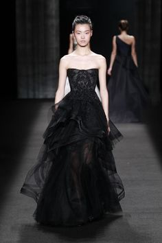 NOIR STRAPLESS TULLE GOWN WITH SKULL EMBROIDERED BODICE BLACK SUEDE HIGH ANKLE STRAP PUMP WITH GUNMETAL CRYSTALS