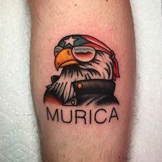 'Murica tattoo by at Crying Heart Tattoo in Cincinnati OH Biker themed Tattoo Inspiratitions. Old school vintage styled biker tattoos Army Tattoos, Biker Tattoos, Military Tattoos, Eagle Tattoos, Old Tattoos, Tattoos For Guys, Sweet Tattoos, Celtic Tattoos, Star Tattoos