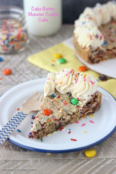 Grab a fork and sink your teeth into this CAKE BATTER MONSTER COOKIE CAKE. is an cake batter oatmeal cookie with MnMs and sprinkles. It's topped with a little vanilla buttercream.