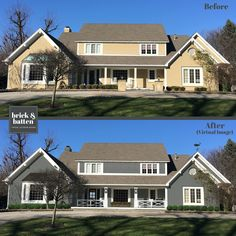 At brick&batten we have curated 16 of the best paint colors for your home's exterior in Painting your home's exterior can be quite a task. Behr Exterior Paint Colors, Best Exterior Paint, House Paint Exterior, Exterior House Colors, Exterior Design, House Siding, Exterior Houses, House Trim, Siding Colors