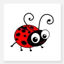 "Cute Ladybug Square Sticker 3"" x 3"" for"