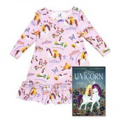 BOOKS TO BED - Girl's Uni the Unicorn Nightgowns PJ and Book Set - Pink