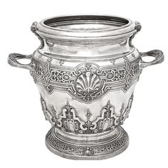 Large Italian Sterling Silver Champagne Bucket | From a unique collection of vintage barware at http://www.1stdibs.com/jewelry/silver-flatware-silverplate/barware/