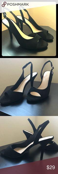 NWOT Nine West Suede Heels NWOT Nine West Suede Heels. Never worn! Beautiful black open toed suede pumps. Padded sole, Suede upper with man made lining. 3 inch Heel. Nine West Shoes Heels