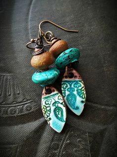 Rustic, Tribal, Clay, Flora, Turquoise, Enameled Glass, Enamel, Clay Beads, Old Beads, Artisan Made, Organic, Primitive,  Beaded Earrings by YuccaBloom on Etsy