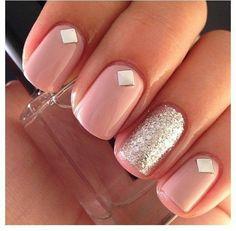 diamond, pastel, nail art, grey, silver, nails, pink, fingers