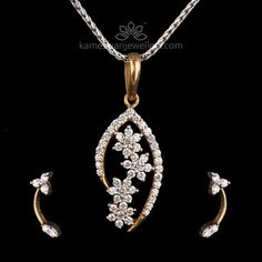 Floret Cluster Diamond Pendant Set