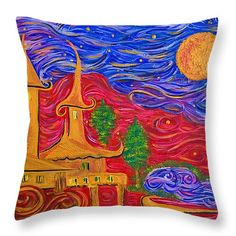 Building Castles in the Sky Throw Pillow x Castle In The Sky, Great Artists, Castles, Greeting Cards, Tapestry, Throw Pillows, Art Prints, Building, Poster