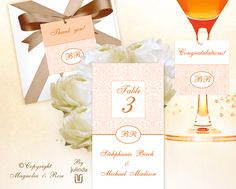 'TANGERINE ELEGANCE'  A versatile #wedding #invitation, rsvp and table settings set, customised to suit your day. (Maps or directions and other elements can also be ordered).    Goes with Apricot, Orange, Mocha, White, Ivory, Peach. | © Julinda at Magnolia & Rose Weddings